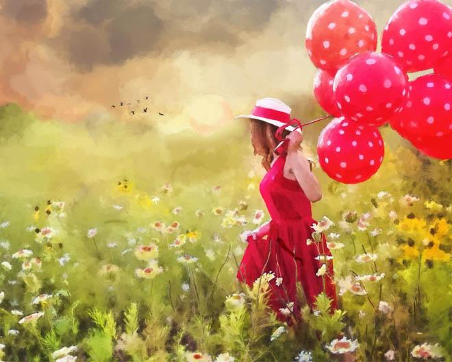девушка с шарами в цветах
