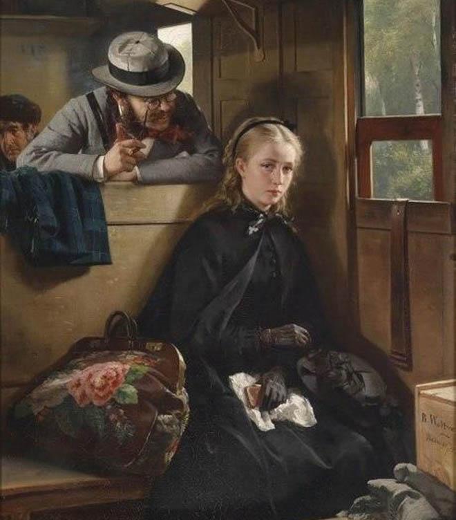 мужчина пристает к девушке