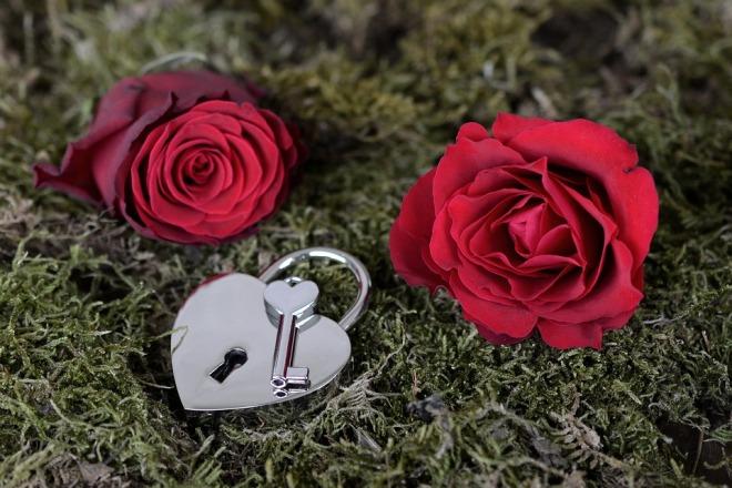 Розы и замок с ключом